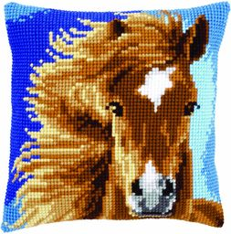 Vervaco 1-częściowa poduszka koń, brązowa