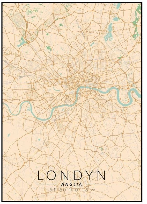 Londyn mapa kolorowa - plakat wymiar do wyboru: 60x80 cm