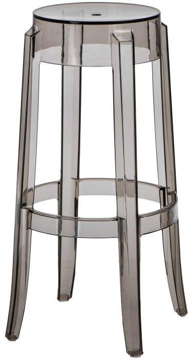 Stołek barowy Duch transparentny szary - dymiony (75 cm) D2