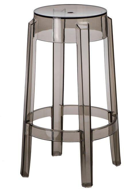 Stołek barowy Duch transparentny szary - dymiony (66 cm) D2