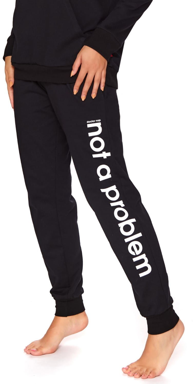 Bawełniane spodnie damskie Dn-nightwear SPO.4133 czarne