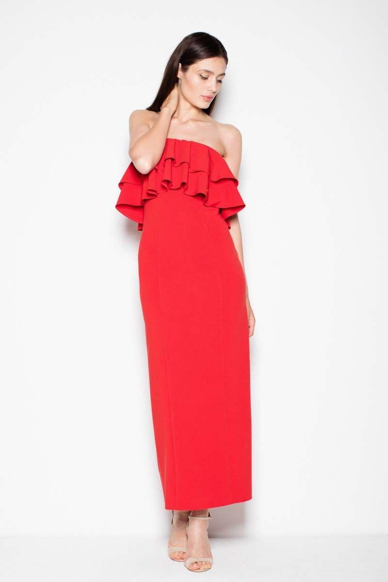 Czerwona sukienka długa elegancka z falbankami
