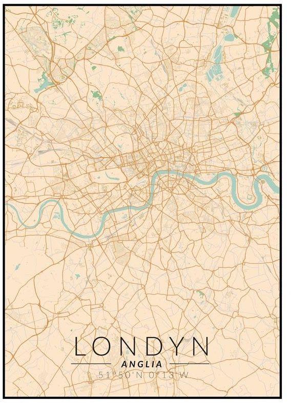 Londyn mapa kolorowa - plakat wymiar do wyboru: 61x91,5 cm