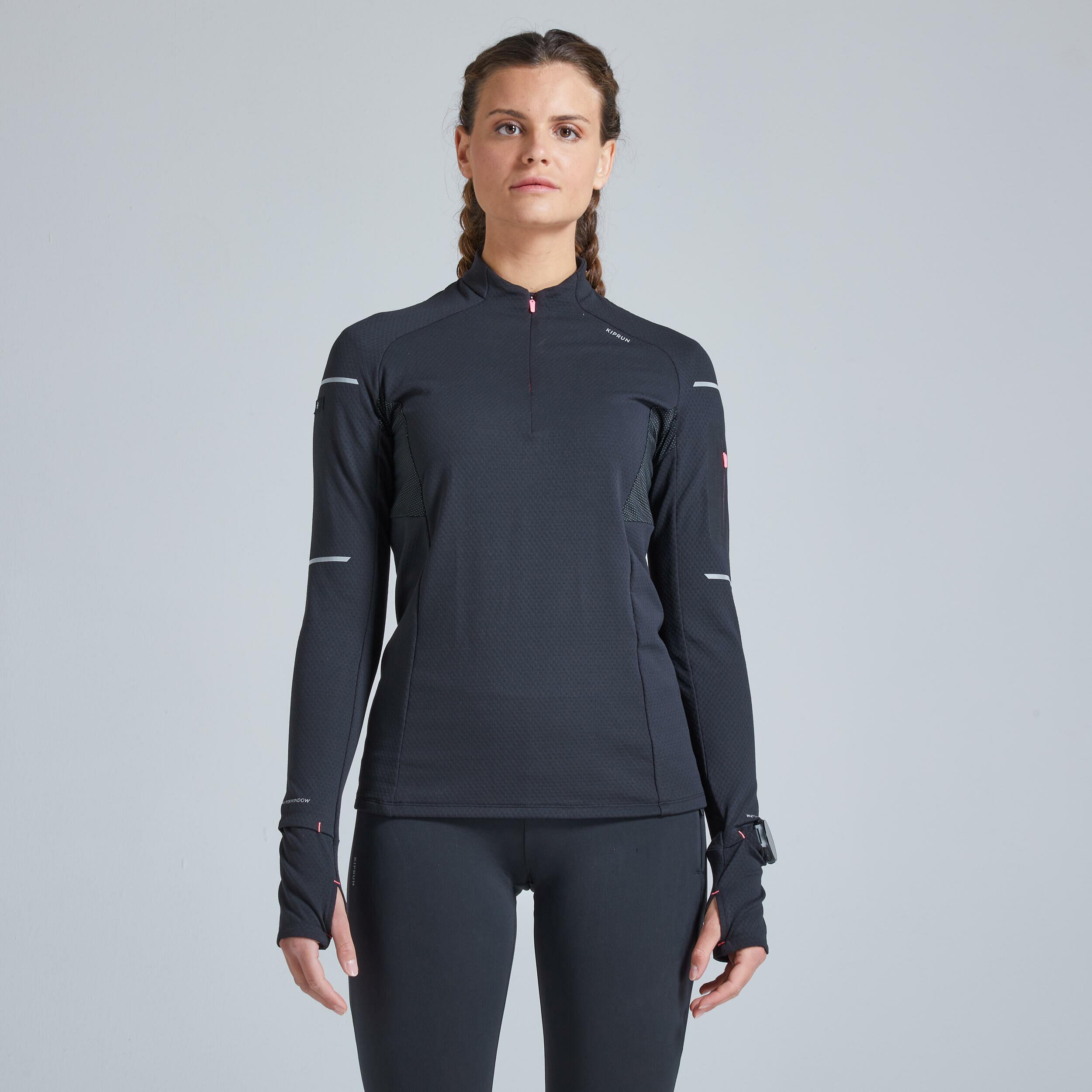Koszulka do biegania z długim rękawem damska Kiprun Warm Light cienka ocieplana