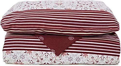 bed-fashion Poszwa na kołdrę, flanela, kolor bordowy, pojedynczy, 140 x 220 cm, 2-częściowy