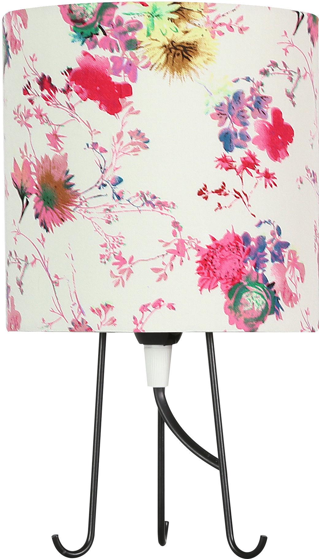 Candellux MICRA 41-34731 lampa stołowa abażur kwiaty różowe 1X40W E14 15 cm