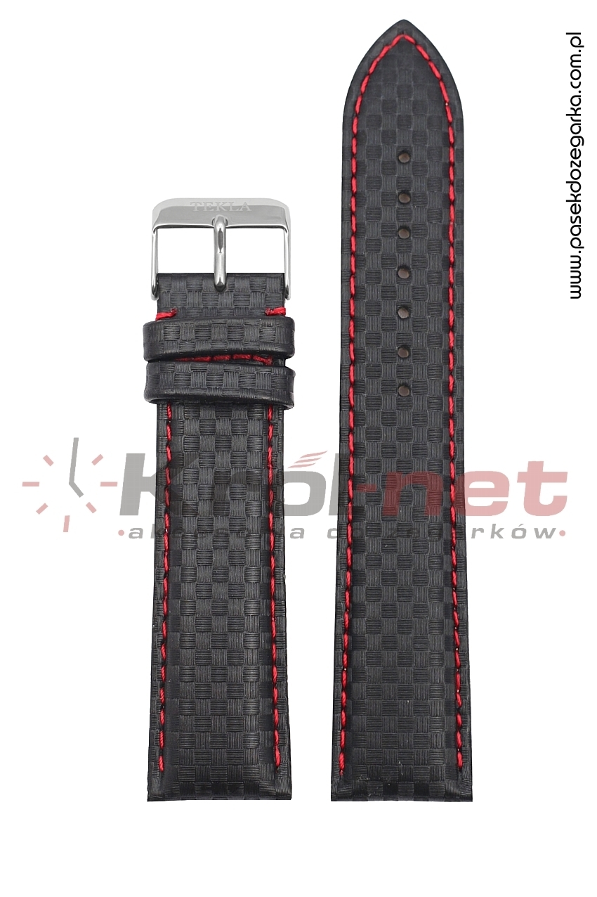 Pasek TK012.1/CZ/24 - karbon, czarny, czerwone nici