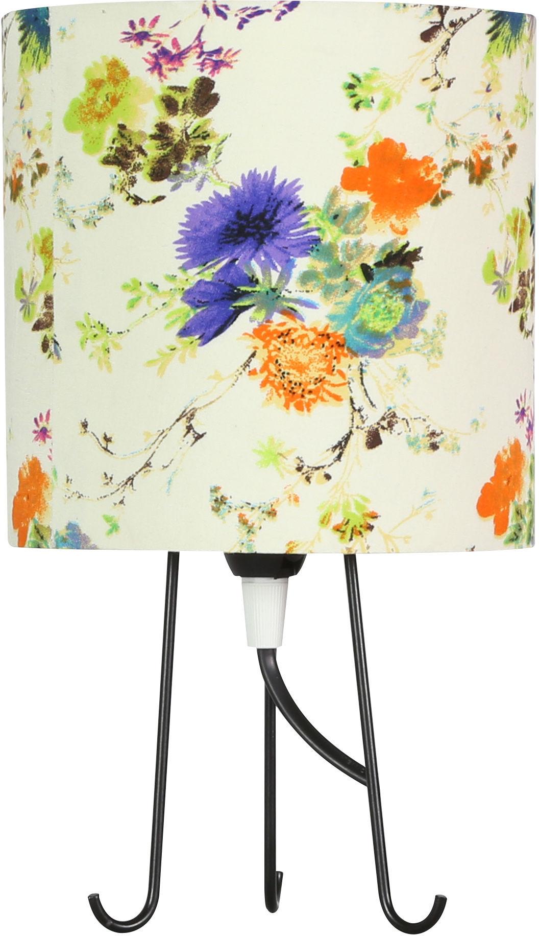 Candellux MICRA 41-34755 lampa stołowa abażur kwiaty niebieskie 1X40W E14 15 cm