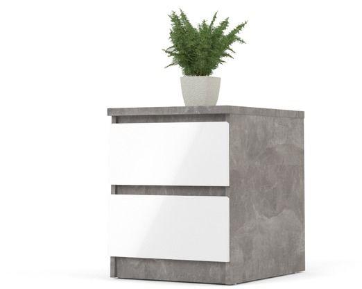 Szafka nocna naia biała wysoki połysk/szary beton