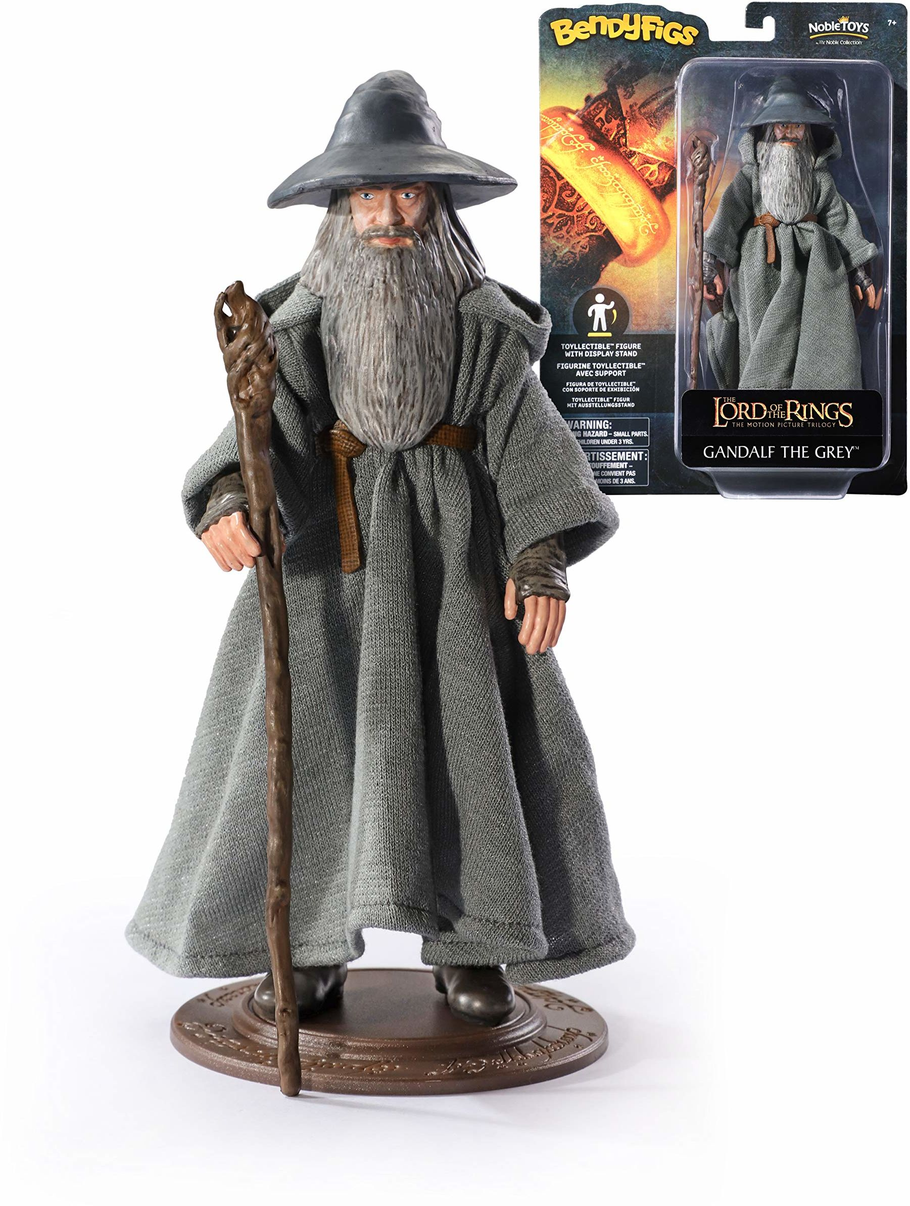 The Noble Collection Bendyfigs Gandalf Officially Licensed 19cm Lord Of The Rings Bendable Toy Posable Collectable Doll Figures With Stand - For Kids & Adults