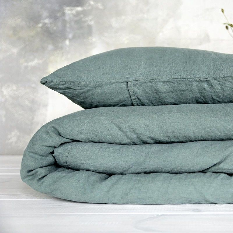 Poszewka na poduszkę lniana MOANA Pure, Rozmiar - 70x80, Kolor - eucaliptus green NAJLEPSZA CENA, DARMOWA DOSTAWA