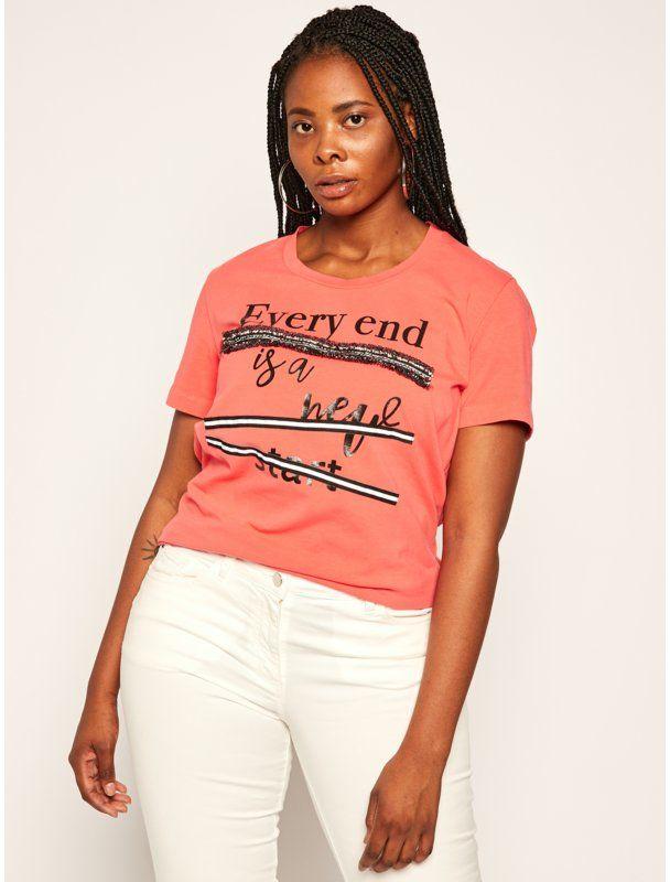 Persona by Marina Rinaldi T-Shirt Vago 1971040 Różowy Regular Fit