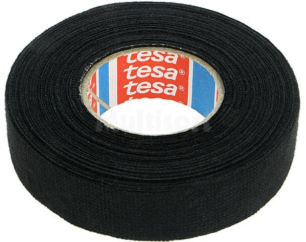 Taśma parciana TESA wełna PET 19mm L:15m czarny