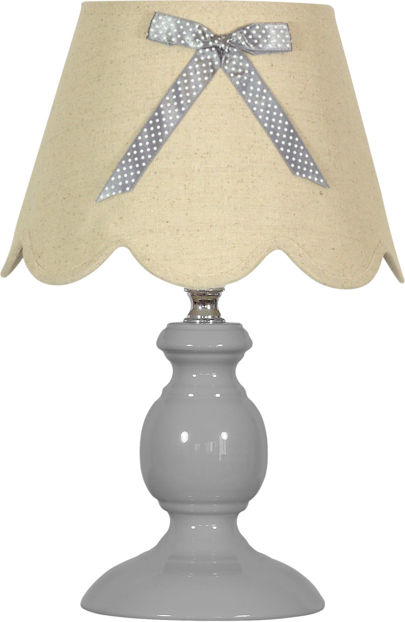 Candellux WHILMA 41-64127 lampa stołowa szara abażur z kokardą 1X40W E14 20 cm