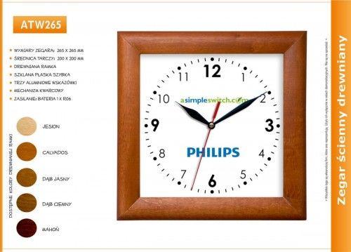 Zegar reklamowy drewniany kwadrat /265mm