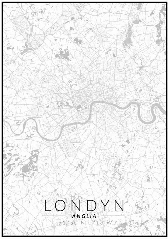 Londyn mapa czarno biała - plakat wymiar do wyboru: 60x80 cm