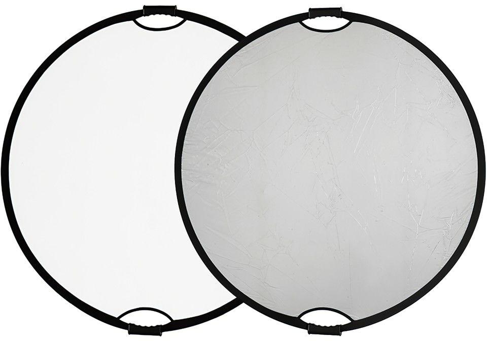 Blenda okrągła z uchwytem biało-srebrna Quadralite o średnicy 110cm