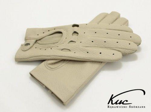 Damskie rękawiczki samochodowe całuski kremowe, ecru