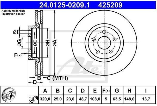 tarcze hamulcowe Focus ST, Kuga II, Transit Connect - przód ATE 320 mm
