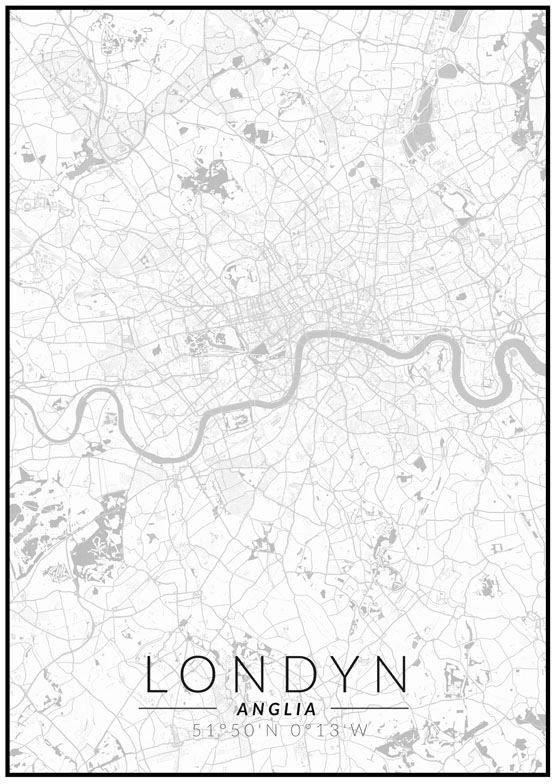 Londyn mapa czarno biała - plakat wymiar do wyboru: 61x91,5 cm