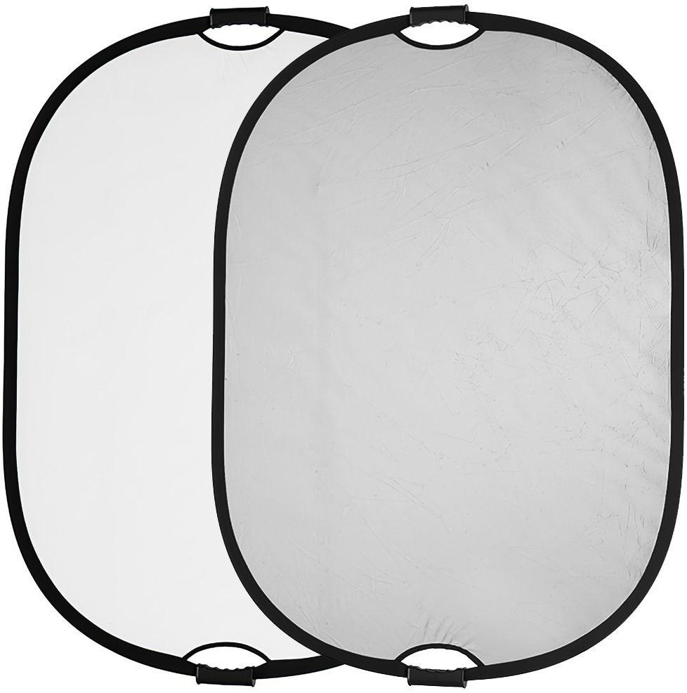 Blenda owalna biało srebrna z uchwytem Quadralite 120x90cm