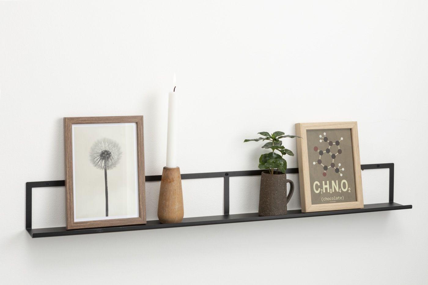 CZARNA metalowa wisząca półka na zdjęcia i dekoracje 90 cm NAGA (70141)