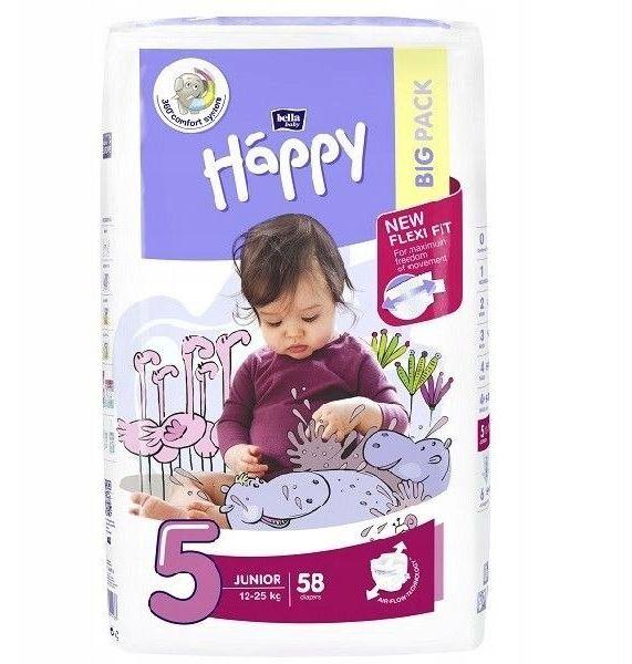 Bella Happy Rozmiar 5 Junior, 58 pieluszek,12-25kg