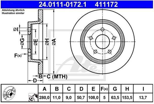 tarcze hamulcowe C-Max  Kuga MK2  Connect MK2 - tył / ATE