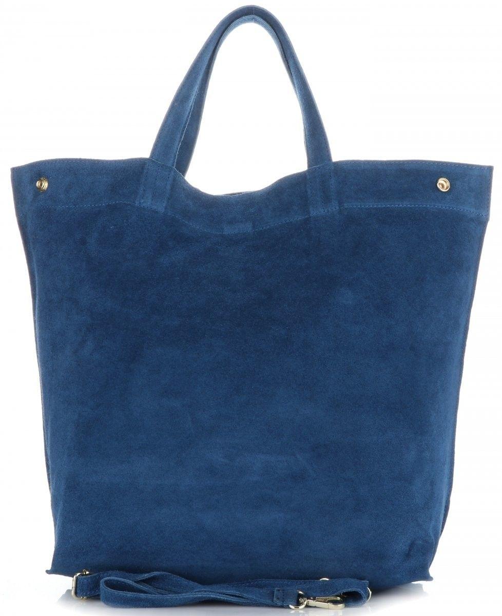 Torebki Skórzane Włoski ShopperBag w rozmiarze XL z możliwością zwężenia firmy Vera Pelle Jeansowe (kolory)