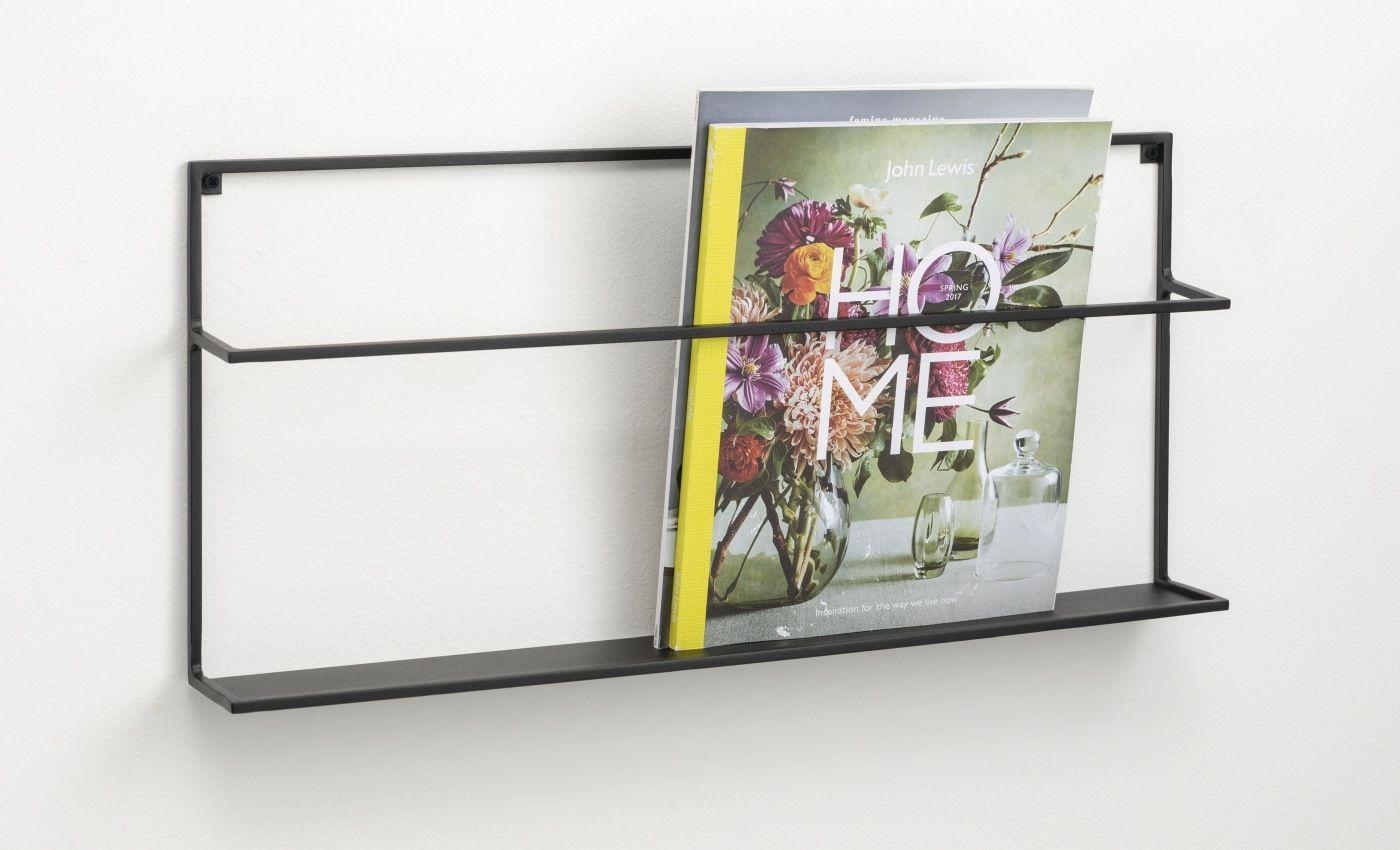 CZARNA metalowa wisząca półka / gazetnik na książki i czasopisma 57 cm NAGA (70142)