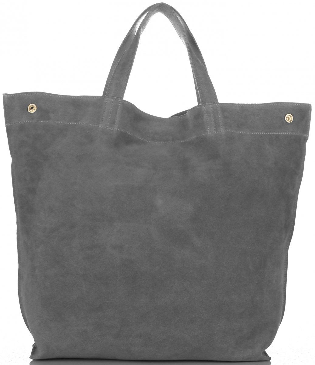 Włoski Skórzany Shopper XL firmy Vera Pelle Szary (kolory)