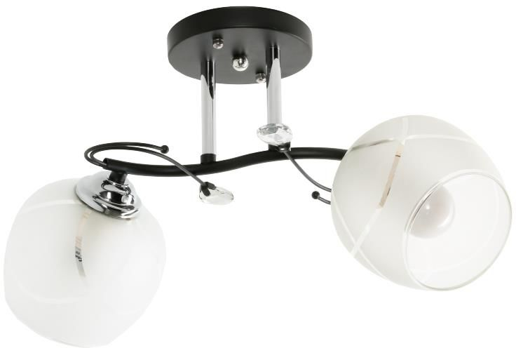 Lampex Celion 2 819/2 plafon lampa sufitowa srebrny metal klosz szkło E27 2x60W 50cm