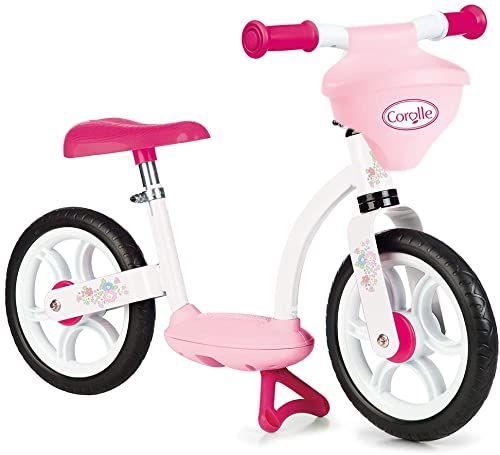 Smoby 770125 Corolle Comfort Balance Bike z regulowanym siodełkiem i wbudowanym uchwytem na lalkę