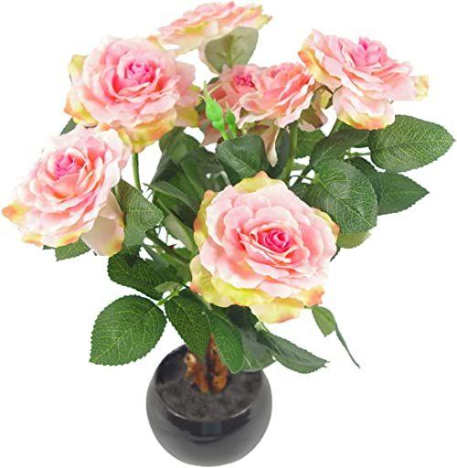 Liść 42 cm sztuczna róża roślina z ceramiczną donicą średni różowy