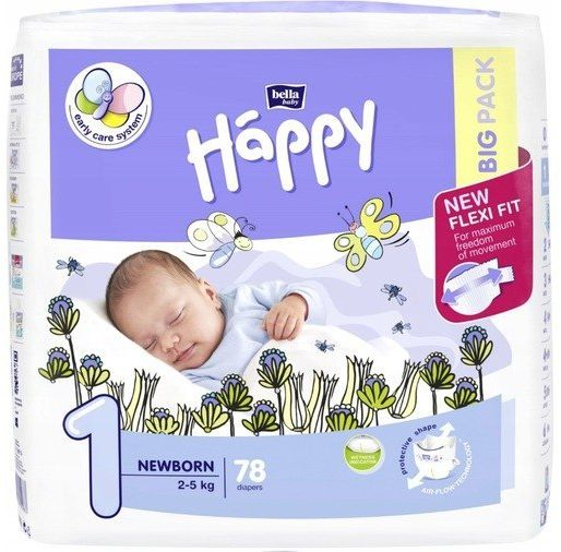 Bella Happy Rozmiar 1 Newborn, 78 pieluszek, 2-5kg