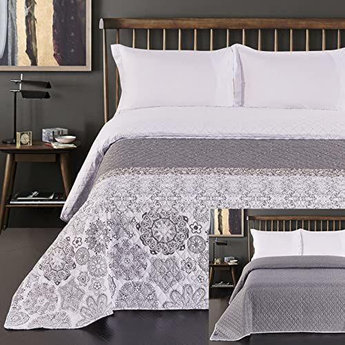 DecoKing 77207 narzuta na łóżko 220 x 240 cm szara srebrna biała dwustronna pikowana geometryczny kwiatowy wzór Alhambra