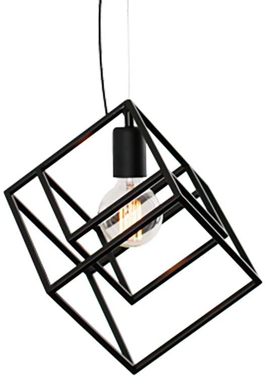 Lampex Zoja 845/1 lampa wisząca metalowa czarna klosz dwie geometryczne bryły E27 1x60W 28cm
