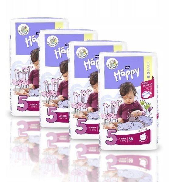 4xBella Happy Rozmiar 5 Junior,58 pieluszki,12-25