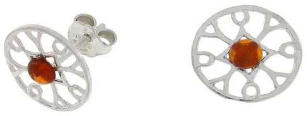Srebrne kolczyki 925 okrągłe z bursztynem 1,60g