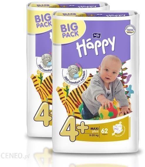 4xBella Happy Rozmiar 4+ Maxi,62 pieluszki,9-20 kg