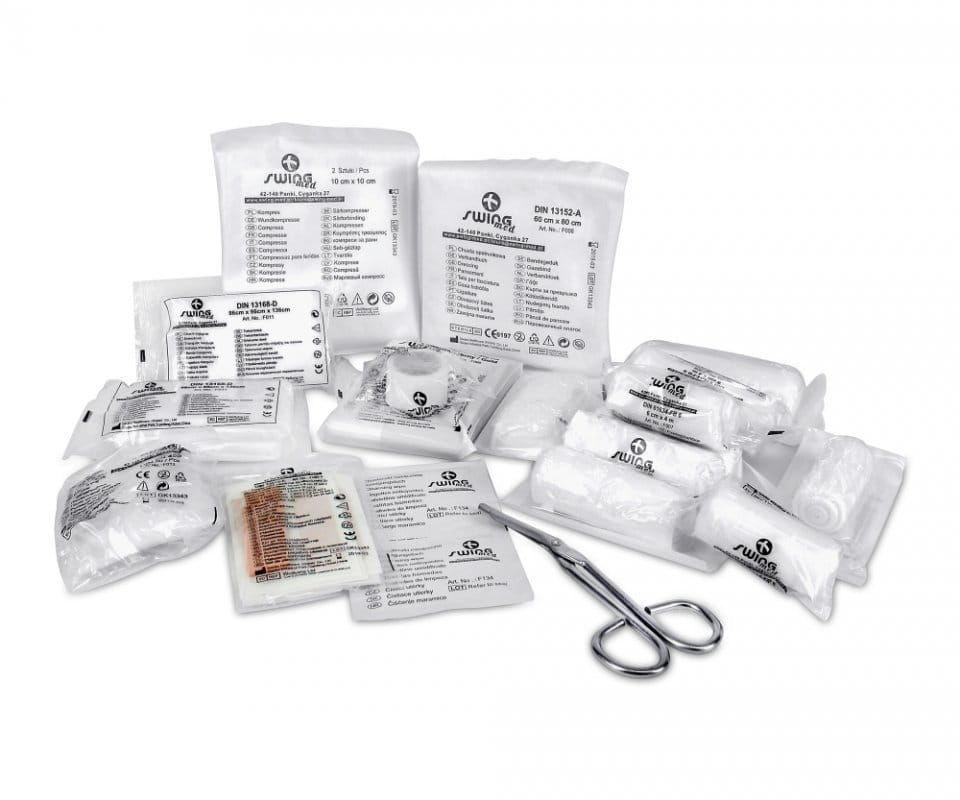 Wyposażenie/ wkład do apteczki wg. normy DIN 13164+