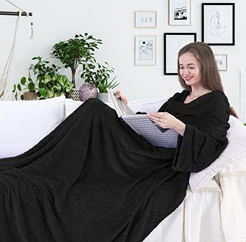 DecoKing koc z rękawami i kieszeniami 150 x 180 cm mikrofibra miękki ciepły czarny Lazy