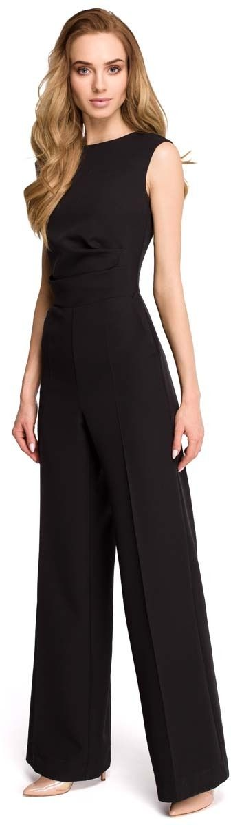 Elegancki kombinezon z szerokimi nogawkami - czarny