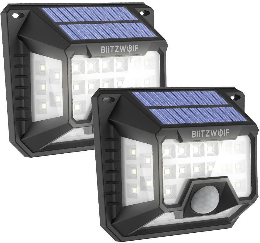 Zewnętrzna lampa solarna LED Blitzwolf BW-OLT3 z czujnikiem zmierzchu i zmierzchu, 1200mAh (2 sztuki)
