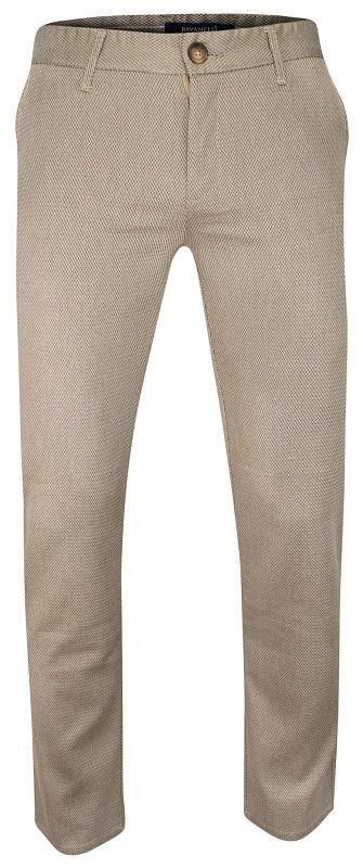 Jasne Beżowe Casualowe Męskie Spodnie -Ravanelli- Zwężane, Bawełniane, Chinosy, Wzór Geometryczny SPRVNL3721renk4