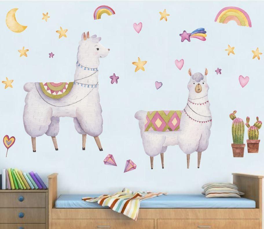 Dwie lamy -naklejka na ścianę