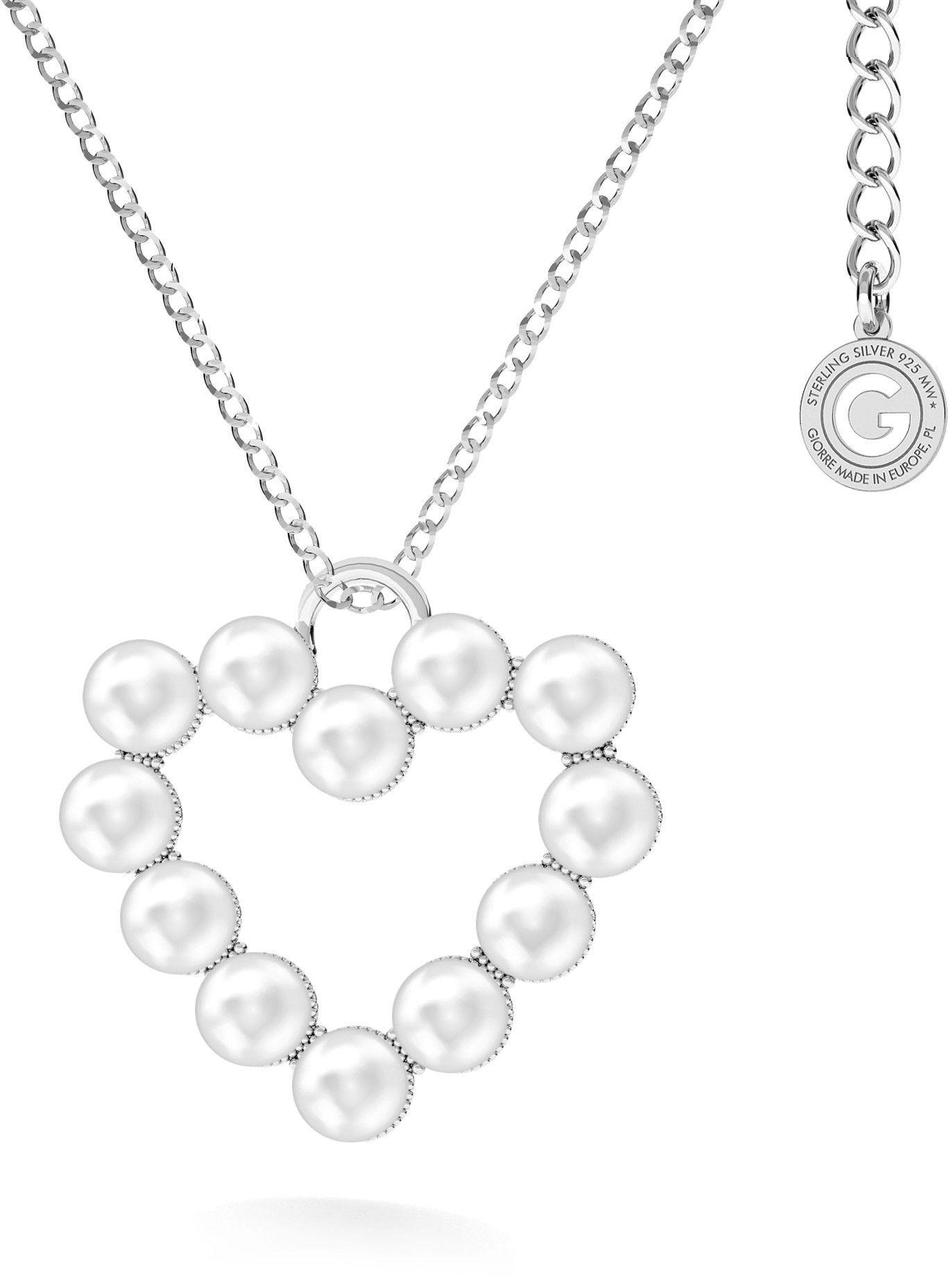 Naszyjnik serce z perłami, Swarovski, srebro 925 : Perła - kolory - SWAROVSKI WHITE, Srebro - kolor pokrycia - Pokrycie platyną