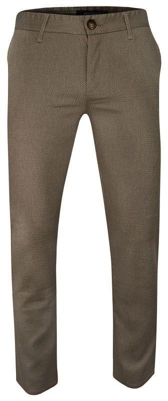 Ciemne Beżowe Casualowe Męskie Spodnie -Ravanelli- Zwężane, Bawełniane, Chinosy, Wzór Geometryczny SPRVNL3721renk1