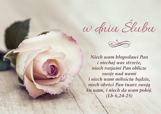 Kartka składana Ślub 4 - Niech wam błogosławi Pan