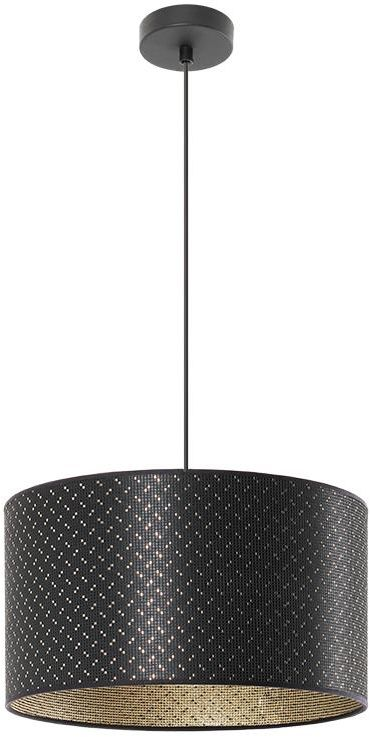 Lampex Ares 1 888/1 lampa wisząca abażur materiał czarny ze złotą nitką na zewnątrz złoty wewnątrz E27 1x60W 95cm